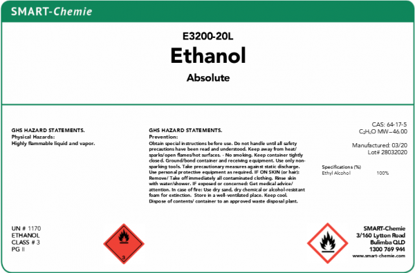 Ethanol Absolute 20L - SMART-Chemie