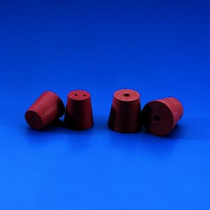 CONICAL STOPPERS Red Rubber * Drilled *  2 holes with 6 mm id   | 18 x 13 mm dia.