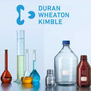 DURAN PURE bottle, clear, graduated, GL 45, with dust cover, without cap and pouring ring, 500 ml
